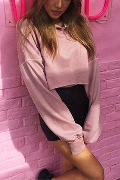 Double 11^^ BIG SALE!!!Casual Hooded Plain Color Crop Sweatshirt - US$17.95 -YOINS