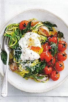 Roasted Tomato Zucchini Pasta With Poached Egg | Donna Hay