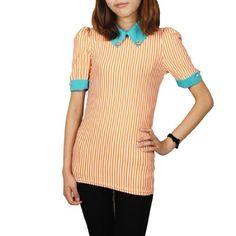 Allegra K Woman Short Sleeve Vertical Stripes Two Tone Stretchy Shirt Orange Green XS Allegra K. $9.94