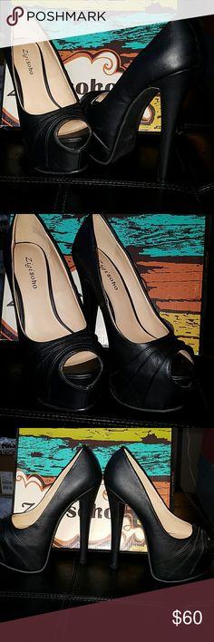 Zigi Soho Peep toe Platform Pumps Sz 7.5 NIB NIB black Zigi Soho Peep toe Platform Pumps in size 7.5. 2 inch hidden platform and 6.5 inch stiletto heels Zigi Soho Shoes Heels