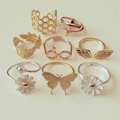 Fancy Jewellery, Stylish Jewelry, Cute Jewelry, Jewelry Accessories, Fashion Accessories, Fashion Jewelry, Jewelry Design, Cute Rings, Pretty Rings