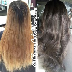 """""""Hay guys here we have our lovely new client Finah! Goodbye brassy blonde hello beautiful smokey ash dark blonde ❤️ finished off with @cloudnineoz waving…"""""""