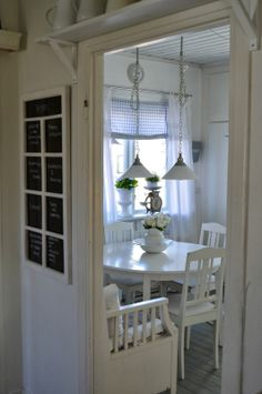 Simple white dining room