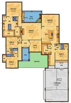 Floor Plan 4 Bedroom, 4 Bedroom House Plans, Bungalow House Plans, Family House Plans, Ranch House Plans, Craftsman House Plans, New House Plans, Dream House Plans, Modern House Plans