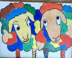 Hanneke en Janneke  Kleurrijk schilderen op canvas