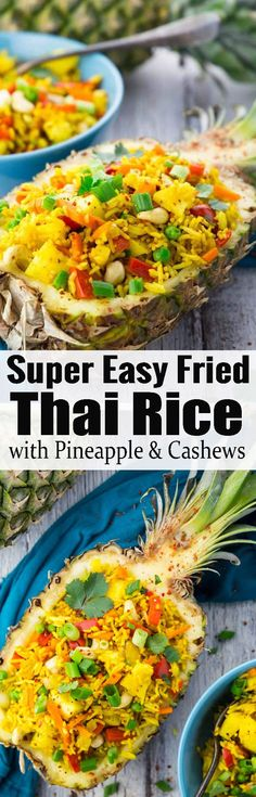This Thai pineapple fried rice is one of my favorite vegan dinner recipes or one of my favorite vegetarian recipes in general! Find more vegan recipes at veganheaven.org