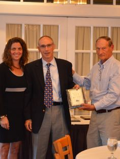 Paul Silvestri with Sessa Sheet Metal (center) is shown here receiving his anniversary plaque from ABC Membership Director Erica Jablonsky and Chair Bill Kleinfelder.