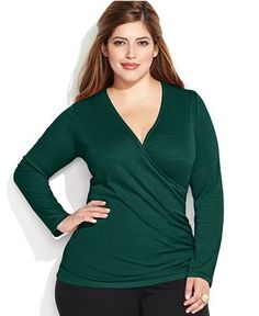 INC International Concepts Plus Size Side Ruched Surplice Top - Tops - Plus Sizes - Macy's