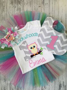 Personalized Girls First Birthday Owl Outfit by MaddyMaeBoutique