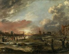 Aert van der Neer (160324 – 1677), Winter Landscape with Skaters at Sunset
