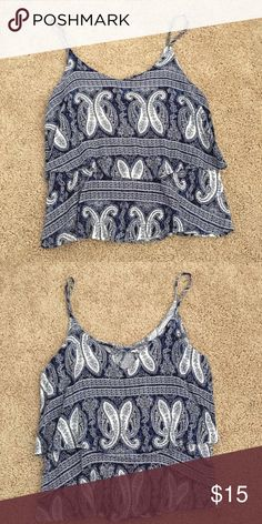 cd291c8a9791e2 Blue and white paisley tank top Francesca s blue and white paisley tank top.  Never been