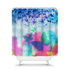 Butterfly  Shower Curtain Abstract Butterflies in by FolkandFunky