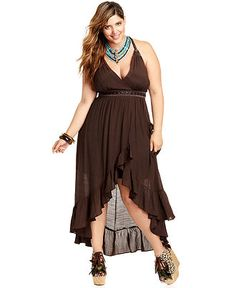 Trixxi Plus Size Plus Size Dress, Sleeveless Belted High-Low Maxi ...