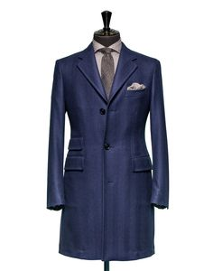 Tailored Coat – Fabric OCS0024 Herringbone Blue Cloth weight: 460g Composition 90% Wool 10% Silk