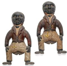 Pair of cast iron figural andirons, late to early century. Attributed to the Tozer Engine Company, Colombia, South Carolina. Fireplace Accessories, South Carolina, Cast Iron, Folk Art, Primitive, Lion Sculpture, Old Things, Hearths, Mantles