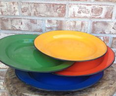 Beautiful Set of 4  Primary Color Enamel / by RetroRetake on Etsy