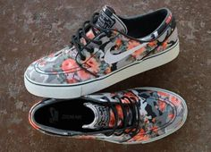 2014 pink & grey Nike shoes, floral roses sneakers, Vans style, peachy color