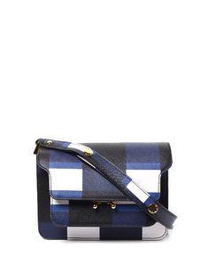 Marni Trunk mini check-print leather cross-body bag