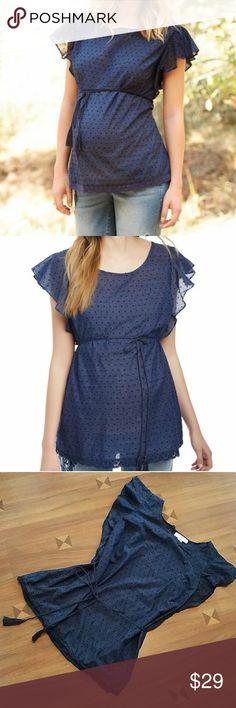 Maternity top Blue top with knit lace on bottom Motherhood Maternity Tops Blouses