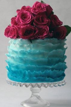wedding cakes maroon Ombre Ruffle Wedding Cake Maroon and Blue Textured Wedding Cakes, Unique Wedding Cakes, Wedding Cake Designs, Quirky Wedding, Cake Wedding, Bolo Pinata, Pinata Cake, Take The Cake, Love Cake