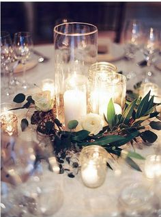 Love this simple elegant centerpiece. Elegant Navy + Blush Charleston Wedding - Style Me Pretty Simple Elegant Centerpieces, Fall Wedding Centerpieces, Wedding Table Centerpieces, Reception Decorations, Candle Centerpieces, Centerpiece Ideas, Quinceanera Centerpieces, Centerpiece Flowers, Candle Favors