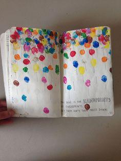Wreck this journal ideas....Finger print balloons