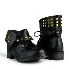 Soda Harkin Women's All Studs Foldable Cuff Military Combat Boots ($27) ❤ liked on Polyvore featuring shoes, boots, ankle booties, sapatos, botas, ankle boots, short boots, cuff ankle boots, fold-over boots and foldover booties