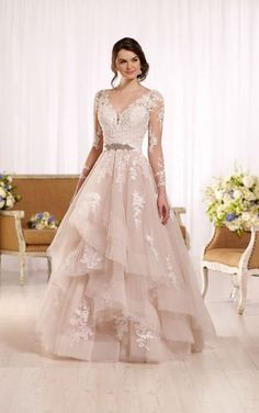 D2186 Sleeved tulle wedding dress with illusion lace by Essense of  Australia Blush Lace Wedding Dress 94125a0fe0e3
