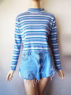 UNICORN // Vintage 90s Ribbed Top Striped Long Sleeve Sparkle Pastel Goth 1990s Shirt Grunge Cyber Kawaii Womens Medium