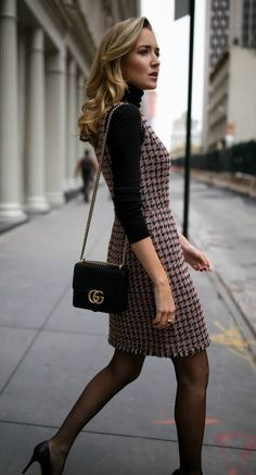 30 DRESSES IN 30 DAYS: Client Meeting //  Tweed fit-and-flare houndstooth dress, black layering turtleneck, black leather victorian peplum jacket, sheer tights, classic black pumps and a black leather crossbody bag {Brooks Brothers, Manolo Blahnik, Gucci, fall fashion, wear to work, office style, what to wear to a client meeting, what to wear to work, professional style, fashion blogger}