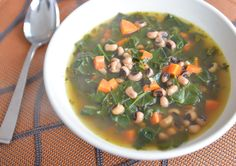 Lucky Soup New Year's Recipe @athletefood #blackeyedpeas #kale