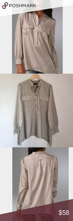 Elizabeth and James Silk Striped Tunic RARE Elizabeth and James silk popover tunic. Beige/gray/green stripe. Button front. Two flap chest pockets. Mandarin collar. Size Small. EUC. Elizabeth and James Tops Tunics