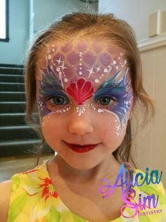 Mermaid Face Painting kids birthday party AliciaSimArtistry.com