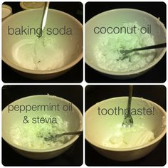 Homemade tooth paste:  3 Tbsp Coconut Oil, 3 Tbsp Baking Soda, 20-25  Drops of Peppermint Oil, 1 Packet of Stevia (2 Tsp Vegetable Glyerin for added sweetness and toothpaste consistency - optional).  Mash and mix until smooth.