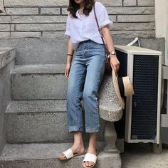 Fashion Summer Outfits Dresses Jeans Ideas For 2019 Spring Fashion Outfits, Summer Dress Outfits, Casual Outfits, Dress Casual, Fashion Clothes, Korean Fashion Trends, Trendy Fashion, Fashion Ideas, Style Fashion
