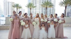 Beautiful wedding in downtown Miami. The glamorous wedding party was complete with these blush sparkling bridesmaid gowns.