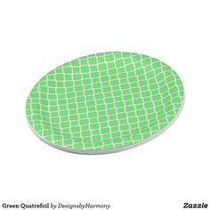 Green Quatrefoil Paper Plate