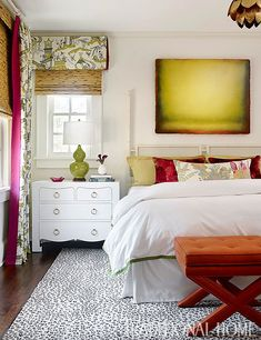 Jacqui Drawer Chest in white - bungalow 5 as seen in Traditional Home - Katie Rosenfeld - Beautiful bedroom with red and chartreuse abstract art over white bamboo headboard accented with green border bedding, mustard Worlds Away Blossom Gold Leafed Pen Home Bedroom, Master Bedroom, Bedroom Decor, Modern Bedroom, Bamboo Headboard, Interior Exterior, Interior Design, Inspiration Design, Bedroom Images