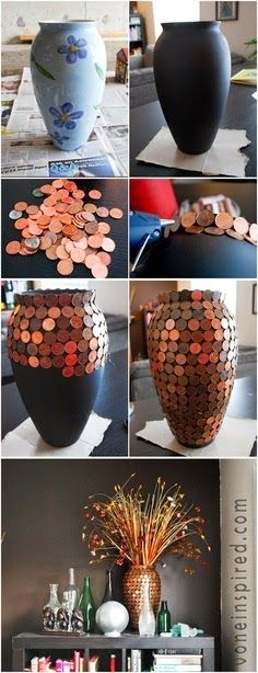 Pennies and vases/mosaic look