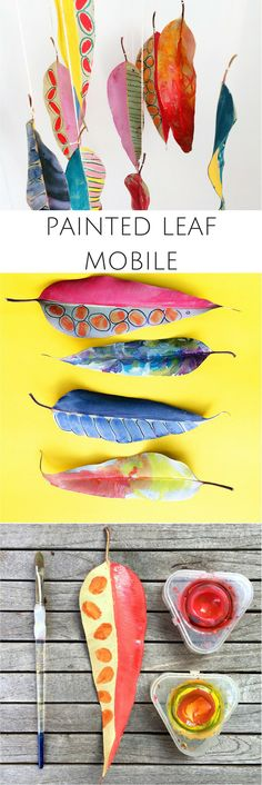 DIY Painted Leaf Mobile. Fun and pretty fall art nature craft for kids and…