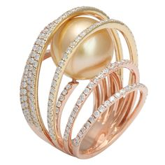 Golden South Sea C.P. Cage ring