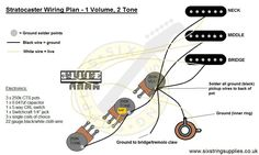 Wiring diagram of the world's most iconic guitar - the Stratocaster with its 5 way switch. This strat wiring diagram is based on our. Diy Amplifier, 5 Ways, Diagram, Wire, How To Plan, Electric Guitars, Electronics, Blue Prints, Guitar