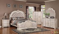 ~ Unity Distressed Antique White Upholstered Bedroom Set with Stone Tops ~ shopfactorydirect.com