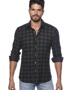 Black plaid shirt for men