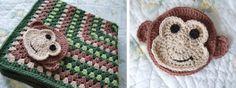 Monkey applique ~ love this blanket!