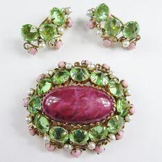Beautiful Schreiner Pink & Green Brooch & Earrings Set..