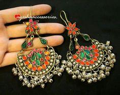 Pinterest • @KrutiChevli Fancy Earrings, Antique Earrings, Antique Jewelry, Silver Earrings, Silver Jewelry, Silver Choker, Bohemian Jewelry, Indian Jewelry, Traditional Earrings
