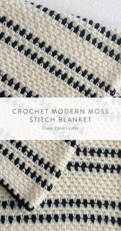 Free Pattern - Crochet Modern Moss Stitch Blanket