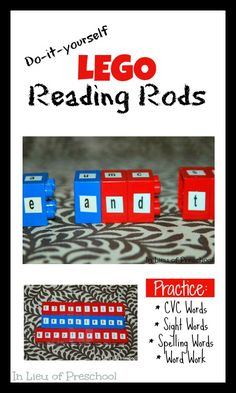 DIY Lego Reading Rods made from Duplo Blocks