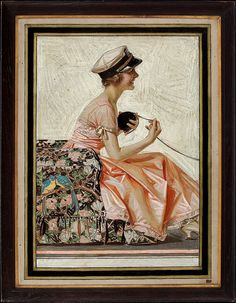 """This is one of two prints that go together entitled """"The Lovebirds"""". The other print is of a young man in uniform holding the skein of yarn. Leyendecker gave the originals to a friend of his in advertising where they remained until last year when they were sold at auction for $150,000. JOSEPH CHRISTIAN LEYENDECKER"""
